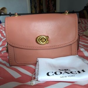 Coach Parker 18 pink flap shoulder bag